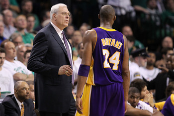 BOSTON - JUNE 10:  Head coach Phil Jackson talks to Kobe Bryant #24 of the Los Angeles Lakers in the game against the Boston Celtics during Game Four of the 2010 NBA Finals on June 10, 2010 at TD Garden in Boston, Massachusetts. NOTE TO USER: User express