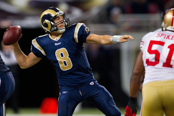 ST. LOUIS, MO - DECEMBER 26: Sam Bradford #8 of the St. Louis Rams passes against the San Francisco 49ers at the Edward Jones Dome on December 26, 2010 in St. Louis, Missouri. The Rams beat the 49ers 25-17. (Photo by Dilip Vishwanat/Getty Images)