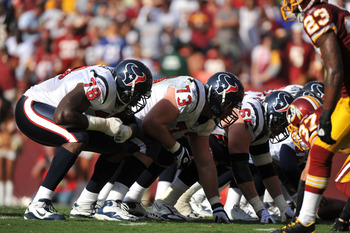 LANDOVER, MD - SEPTEMBER 19:  Eric Winston #73 of the Houston Texans defends against the Washington Redskins at FedExField on September 19, 2010 in Landover, Maryland. The Texans defeated the Redskins in overtime 30-27. (Photo by Larry French/Getty Images