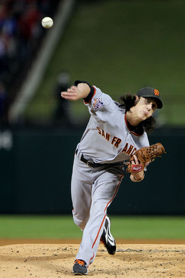 Tim Lincecum showing off his great arm during a game.