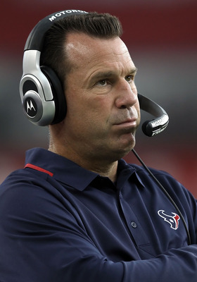 GLENDALE, AZ - AUGUST 14:  Head coach Gary Kubiak of the Houston Texans watches from the sidelines during preseason NFL game against the Arizona Cardinals at the University of Phoenix Stadium on August 14, 2010 in Glendale, Arizona. The Cardinals defeated