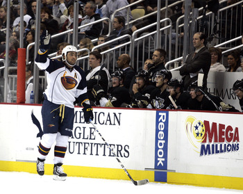 PITTSBURGH, PA - DECEMBER 28:  Dustin Byfuglien #33 of the Atlanta Thrashers celebrates his first period goal against the Pittsburgh Penguins at Consol Energy Center on December 28, 2010 in Pittsburgh, Pennsylvania.  (Photo by Justin K. Aller/Getty Images