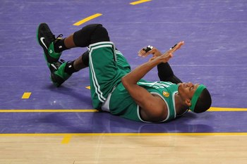 LOS ANGELES, CA - JUNE 15:  Rajon Rondo #9 of the Boston Celtics lays on the floor after an injury to his face in the second half while taking on the Los Angeles Lakers in Game Six of the 2010 NBA Finals at Staples Center on June 15, 2010 in Los Angeles,
