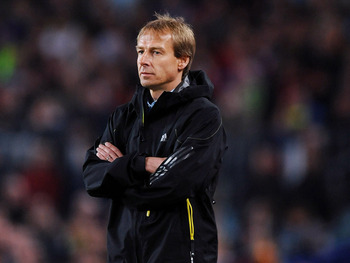 BARCELONA, SPAIN - APRIL 08:  (FILE PHOTO) Head coach Jurgen Klinsmann of Bayern Munich follows his players during the UEFA Champions League quarter final first leg match between FC Barcelona and FC Bayern Munich at the Camp Nou stadium on April 8, 2009 i