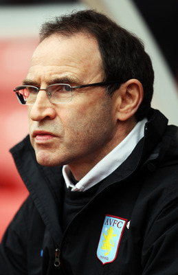 STOKE ON TRENT, ENGLAND - MARCH 13:  Aston Villa Manager Martin O'Neill looks on at the start of the Barclays Premier League match between Stoke City and Aston Villa at Britannia Stadium on March 13th, 2010 in Stoke on Trent, England.  (Photo by Bryn Lenn