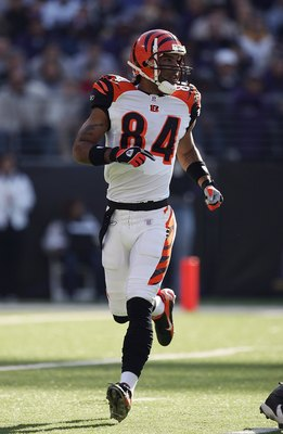 BALTIMORE - NOVEMBER 5:  T.J. Houshmanzadeh #84 of the Cincinnati Bengals runs during the game against the Baltimore Ravens at M&T Bank Stadium on November 5, 2006 in Baltimore, Maryland.  The Ravens defeated the Bengals 26-20. (Photo by Harry How/Getty I