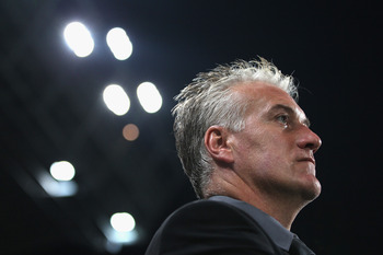 MARSEILLE, FRANCE - SEPTEMBER 15: Didier Deschamps coach of Marseille during the UEFA Champions League Group F match between Olympique Marseille and Spartak Moscow at the Stade Velodrome on September 15, 2010 in Marseille, France.  (Photo by Michael Steel
