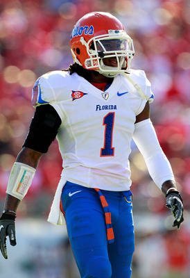 JACKSONVILLE, FL - OCTOBER 30:  Janoris Jenkins #1 of the Florida Gators looks over the offense during the game against the Georgia Bulldogs at EverBank Field on October 30, 2010 in Jacksonville, Florida.  (Photo by Sam Greenwood/Getty Images)