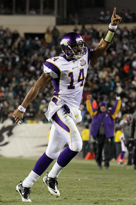 PHILADELPHIA, PA - DECEMBER 28: Joe Webb #14 of the Minnesota Vikings celebrates after play against the Philadelphia Eagles at Lincoln Financial Field on December 28, 2010 in Philadelphia, Pennsylvania. (Photo by Jim McIsaac/Getty Images)