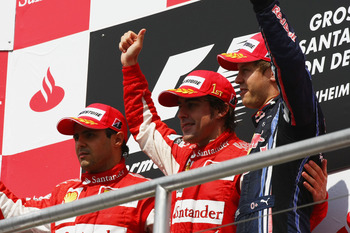 Massa finished second in Germany, behind Alonso