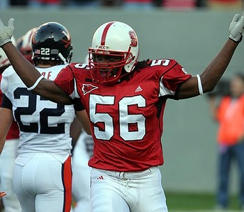 North Carolina State linebacker Nate Irving fires up the troops against the Virginia Cavaliers.