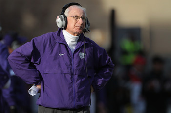 BOULDER, CO - NOVEMBER 20:  Head coach Bill Snyder of the Kansas State Wildcats looks on as he leads his team against the Colorado Buffaloes at Folsom Field on November 20, 2010 in Boulder, Colorado. Colorado defeated Kansas State 44-36.  (Photo by Doug P
