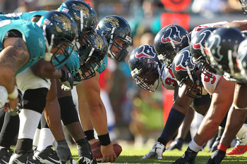 JACKSONVILLE, FL - NOVEMBER 14:  The Jacksonville Jaguars line up during a game against the Houston Texans at EverBank Field on November 14, 2010 in Jacksonville, Florida.  (Photo by Mike Ehrmann/Getty Images)