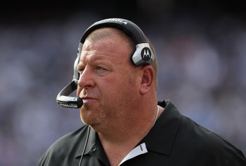 SAN DIEGO - DECEMBER 05:  Oakland Raiders head coach Tom Cable looks on from the sideline against the San Diego Chargers at Qualcomm Stadium on December 5, 2010 in San Diego, California. The Raiders defeated the Chargers 28-13.  (Photo by Jeff Gross/Getty