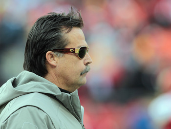 KANSAS CITY, MO - DECEMBER 26:  Head coach Jeff Fisher of the Tennessee Titans looks on from the sidelines during the game against the Kansas City Chiefs on December 26, 2010 at Arrowhead Stadium in Kansas City, Missouri.  (Photo by Jamie Squire/Getty Ima
