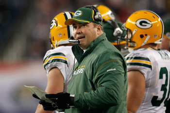 FOXBORO, MA - DECEMBER 19:  Mike McCarthy, head coach of the Green Bay Packers, looks on during the third quarter of the game against the New England Patriots at Gillette Stadium on December 19, 2010 in Foxboro, Massachusetts.  (Photo by Jim Rogash/Getty