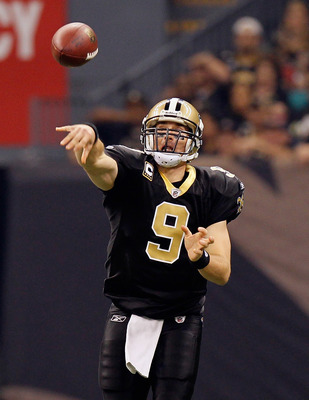 NEW ORLEANS - NOVEMBER 21:  Quarterback Drew Brees #9 of the New Orleans Saints against the Seattle Seahawks at Louisiana Superdome on November 21, 2010 in New Orleans, Louisiana.  (Photo by Kevin C. Cox/Getty Images)