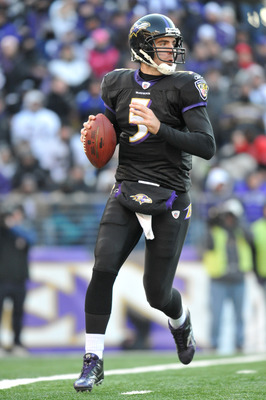 BALTIMORE, MD - DECEMBER 19:  Joe Flacco #5 of the Baltimore Ravens looks for a receiver during the game against the New Orleans Saints  at M&amp;T Bank Stadium on December 19, 2010 in Baltimore, Maryland. The Ravens defeated the Saints 30-24. (Photo by Larry