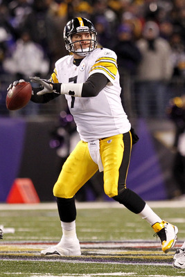 BALTIMORE, MD - DECEMBER 05: Ben Roethlisberger #7 of the Pittsburgh Steelers throws the ball against the Baltimore Ravens at M&amp;T Bank Stadium on December 5, 2010 in Baltimore, Maryland.  (Photo by Geoff Burke/Getty Images)