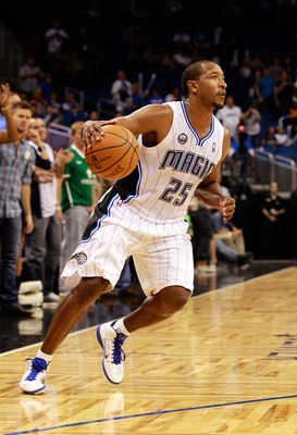 ORLANDO, FL - OCTOBER 10:  Chris Duhon #25 of the Orlando Magic dribbles during the game against the New Orleans Hornets at Amway Arena on October 10, 2010 in Orlando, Florida. NOTE TO USER: User expressly acknowledges and agrees that, by downloading and