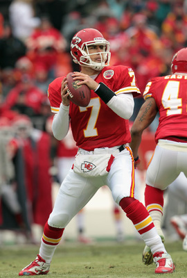 KANSAS CITY, MO - DECEMBER 26:  Quarterback Matt Cassel #7 of the Kansas City Chiefs in action during the game against the Tennessee Titans on December 26, 2010 at Arrowhead Stadium in Kansas City, Missouri.  (Photo by Jamie Squire/Getty Images)