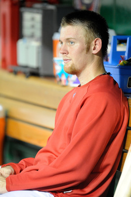 WASHINGTON - AUGUST 10:  Stephen Strasburg #37 of the Washington Nationals sits in the dugout during the sixth inning of the game against the Florida Marlins at Nationals Park on August 10, 2010 in Washington, DC.  (Photo by Greg Fiume/Getty Images)