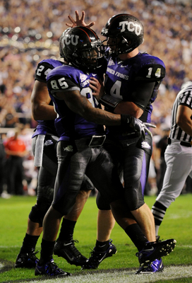 FORT WORTH, TX - NOVEMBER 14:  Quarterback Andy Dalton #14 of the TCU Horned Frogs congratulates teammate Jeremy Kerley #85 after a touchdown in the second quarter against the Utah Utes at Amon G. Carter Stadium on November 14, 2009 in Fort Worth, Texas.