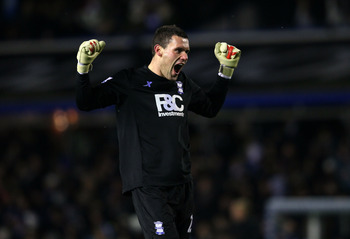 BIRMINGHAM, ENGLAND - DECEMBER 01:  Birmingham keeper Ben Foster celebrates the City goal during the Carling Cup Quarter Final between Birmingham City and Aston Villa at St Andrews on December 1, 2010 in Birmingham, England.  (Photo by Stu Forster/Getty I