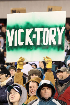 PHILADELPHIA, PA - DECEMBER 28:  A Philadelphia Eagles fan holds a ' VICK-TORY' sign in the crowd during their game against the Minnesota Vikings at Lincoln Financial Field on December 28, 2010 in Philadelphia, Pennsylvania.  (Photo by Jim McIsaac/Getty I