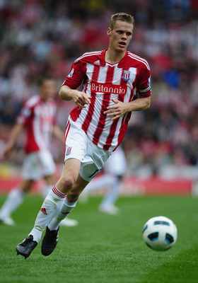 STOKE ON TRENT, ENGLAND - AUGUST 21:  Ryan Shawcross of Stoke in action during the Barclays Premier League match between Stoke City and Tottenham Hotspur at the Britannia Stadium on August 21, 2010 in Stoke on Trent, England.  (Photo by Laurence Griffiths