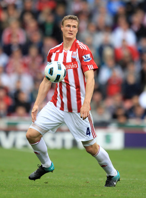 STOKE ON TRENT, ENGLAND - SEPTEMBER 18:  Robert Huth of Stoke City in action during the Barclays Premier League match between Stoke City and West Ham United at the Britannia Stadium on September 18, 2010 in Stoke on Trent, England.  (Photo by Mark Thompso