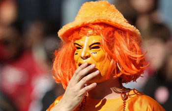 COLUMBIA, SC - OCTOBER 30:  A fan of the Tennessee Volunteers watches on against the South Carolina Gamecocks during their game at Williams-Brice Stadium on October 30, 2010 in Columbia, South Carolina.  (Photo by Streeter Lecka/Getty Images)