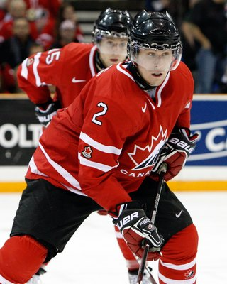 SASKATOON, SK - JANUARY 3:  Colten Teubert #2 of Team Canada skates during the 2010 IIHF World Junior Championship Tournament Semifinal game against Team Switzerland on January 3, 2010 at the Credit Union Centre in Saskatoon, Saskatchewan, Canada.  Team C