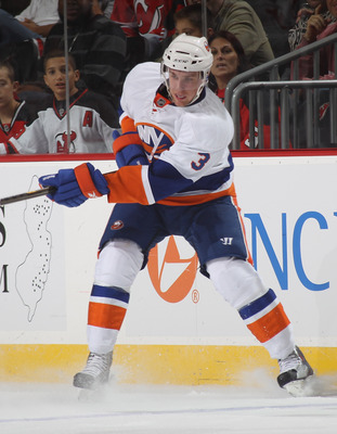 NEWARK, NJ - OCTOBER 01: Calvin de Haan #3 of the New York Islanders skates against the New Jersey Devils at the Prudential Center on October 1, 2010 in Newark, New Jersey.The Devils defeated the Islanders 4-3.  (Photo by Bruce Bennett/Getty Images)