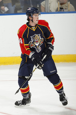 SUNRISE, FL - OCTOBER 1: Erik Gudbranson #44 of the Florida Panthers skates prior to the pre season game against the Tampa Bay Lightning on October 1, 2010 at the BankAtlantic Center in Sunrise, Florida. The Lightning defeated the Panthers 2-1 in overtime