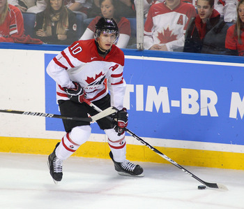 BUFFALO, NY - DECEMBER 29:  Brayden Schenn #10  of Canada skates against Norway during the 2011 IIHF World U20 Championship game between the Canada and Norway  on December 29, 2010 in Buffalo, New York. Schenn had 4 goals in 10-1 win by Canada.  (Photo by