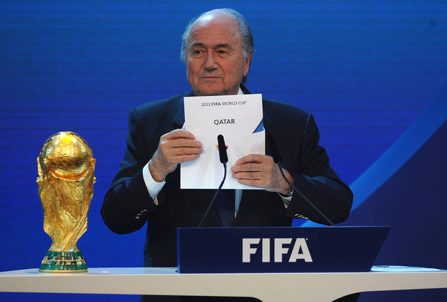 ZURICH, SWITZERLAND - DECEMBER 02: FIFA President Joseph S Blatter names Qatar as the winning hosts of 2022 duirng the FIFA World Cup 2018 &amp; 2022 Host Countries Announcement at the Messe Conference Centre on December 2, 2010 in Zurich, Switzerland.  (Phot