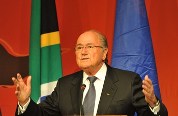 SOWETO, SOUTH AFRICA - DECEMBER 13:  FIFA President Sepp Blatter gives a speech during a media briefing at Soccer City on December 13, 2010 in Soweto, South Africa. The event was held to reflect on the legacy of the 2010 FIFA World Cup. (Photo by Gallo Im