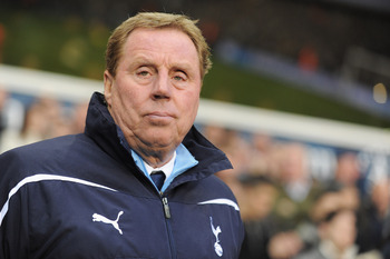 LONDON, ENGLAND - DECEMBER 28: Harry Redknapp, manager of Tottenham Hotspur looks on during the Barclays Premier League match between Tottenham Hotspur and Newcastle United at White Hart Lane on December 28, 2010 in London, England.  (Photo by Michael Reg