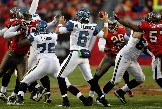 TAMPA, FL - DECEMBER 26: Quarterback Charlie Whitehurst #6 of the Seattle Seahawks throws a pass against the Tampa Bay Buccaneers during the game at Raymond James Stadium on December 26, 2010 in Tampa, Florida. (Photo by J. Meric/Getty Images)