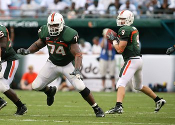 MIAMI - OCTOBER 25:  Offensive lineman Orlando Franklin #74 of the Miami Hurricanes drops back to block while taking on the Wake Forest Demon Decons at Dolphin Stadium on October 25, 2008 in Miami, Florida. Miami defeated Wake Forest 16-10.  (Photo by Dou
