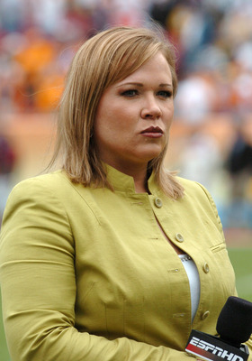ESPN commentator Holly Rowe during the 2007 Outback Bowl between Penn State and Tennessee at Raymond James Stadium in Tampa, Florida on January 1, 2007. (Photo by A. Messerschmidt/Getty Images) *** Local Caption ***