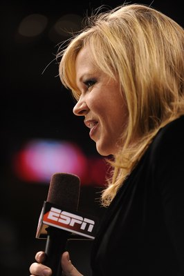 OKLAHOMA CITY - MARCH 14:  ESPN reporter Holly Rowe during the Phillips 66 Big 12 Men's Basketball Championship finals at the Ford Center March 14, 2009 in Oklahoma City, Oklahoma.  (Photo by Ronald Martinez/Getty Images)