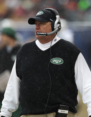 CHICAGO, IL - DECEMBER 26: Head coach Rex Ryan of the New York Jets watches as his team takes on the Chicago Bears at Soldier Field on December 26, 2010 in Chicago, Illinois. The Bears defeated the Jets 38-34. (Photo by Jonathan Daniel/Getty Images)