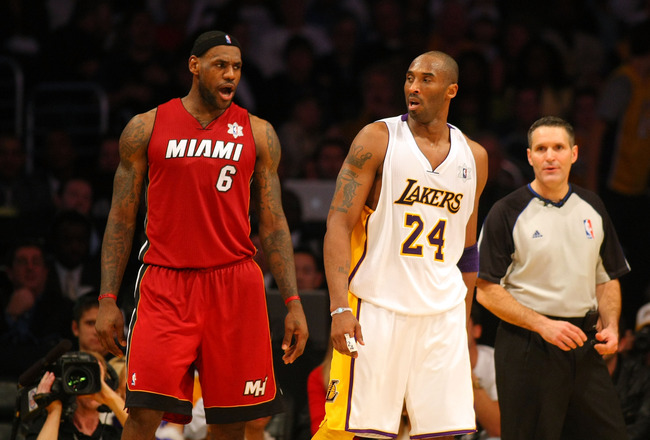 LOS ANGELES, CA - DECEMBER 25: LeBron James #6 of the Miami Heat exchanges words with Kobe Bryant #24 of the Los Angeles Lakers late in the fourth quarter during the NBA game at Staples Center on December 25, 2010 in Los Angeles, California. The Heat defe