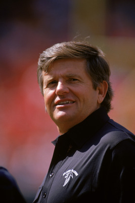 SAN FRANCISCO - SEPTEMBER 23:  Head coach Jerry Glanville of the Atlanta Falcons looks on during a game against the San Francisco 49ers at Candlestick Park on September 23, 1990 in San Francisco, California.  The 49ers won 19-13.  (Photo by George Rose/Ge