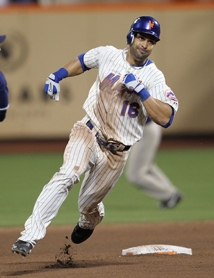 NEW YORK - JUNE 08:  Angel Pagan #16 of the New York Mets runs the bases on a triple in the tenth inning against the San Diego Padres on June 8, 2010 in the Flushing neighborhood of the Queens borough of New York City.  (Photo by Nick Laham/Getty Images)