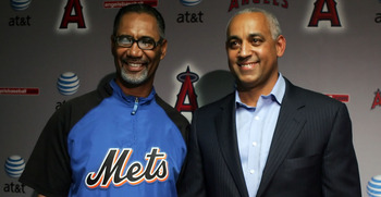 ANAHEIM, CA - JUNE 17:  New York Mets interim manager Jerry Manuel and general manager Omar Minaya pose during a press conference at Angel Stadium on June 17, 2008 in Anaheim, California.  (Photo by Jeff Gross/Getty Images)
