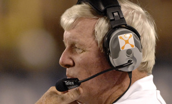 University of Central Florida coach George O'Leary  against Pitt  Oct. 13, 2006 in Orlando.  Pitt led at half time 38 - 0. (Photo by A. Messerschmidt/Getty Images) *** Local Caption ***