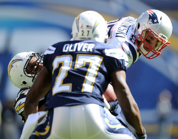 SAN DIEGO - OCTOBER 24:  Rob Gronkowski #87 of the New England Patriots is hit by Stephen Cooper #54 and Paul Oliver #27 of the San Diego Chargers during the first quarter at Qualcomm Stadium on October 24, 2010 in San Diego, California.  (Photo by Harry